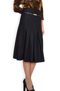 Дамска черна елегантна пола с миди дължина