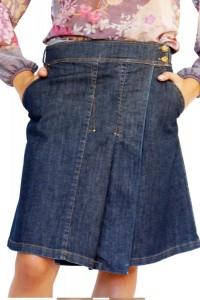 Асиметрична дънкова пола с плисе