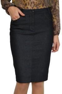 Черна дънкова пола до коляното