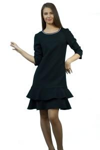 Стилна черна рокля с пеплум