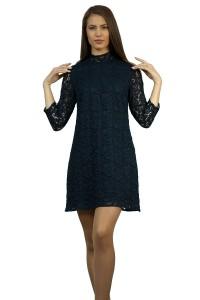 Официална дамска черна рокля от дантела