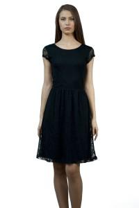 Официална черна дамска рокля от дантела с къс ръкав