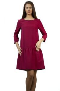 Дамска рокля в малиново-червен цвят