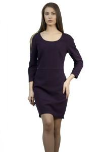 Дамска вталена рокля в цвят бордо