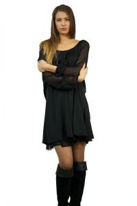 Дамск Черна дамска рокля от тюл и коприна