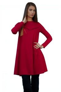 Дамска червена рокля с дълъг ръкав