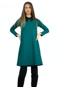 Дамска рокля с разкроен силует от ефектен зелен плат