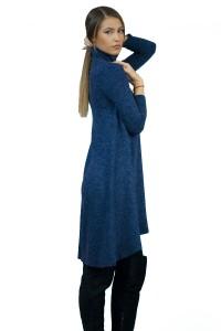 Пухкава ,разкроена рокля от плетиво в сиво - син меланж с дълъг ръкав и поло-яка.Роклята е а-симетрична и без закопчаване.