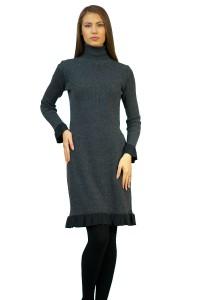 Дамска права зимна плетена рокля с дълъг ръкав от плътен леко еластичен плат