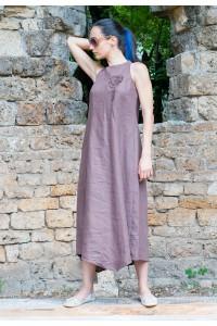 Дълга дамска лятна ленена рокля с ефектни декорации
