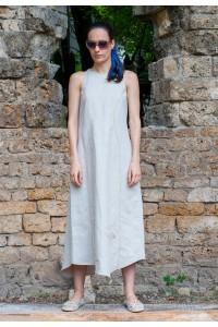 Лятна ленен дълга а-симетрична рокля, без ръкав
