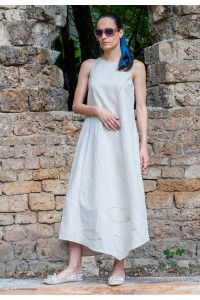 Лятна ленен дълга дамска а-симетрична рокля, без ръкав