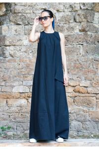 Дамска дълга черна лятна рокля без ръкави