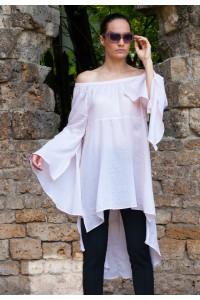 Бяла ефирна а-симетрична дамска туника