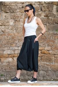 Дамски черен летен пола-панталон