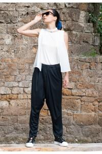 Дамски черен панталон тип потур