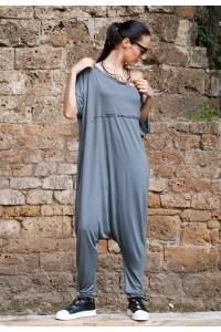 Дамски летен гащиризон от сив трикотажен плат