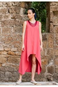 Ленена лятна дамска рокля А-силует, коралов цвя