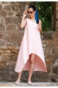 Ленена лятна рокля в розово А-силует