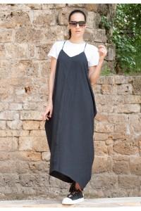 Екстравагантна черна ленена рокля с презрамки
