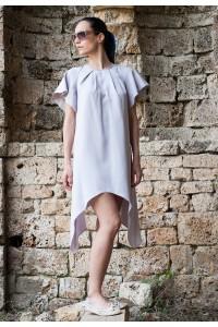 Ефектна лятна а-симетрична дамса рокля от лен