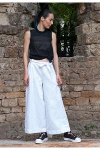 Ленен летен бял дамски панталон