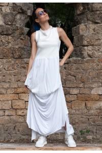 Бяла дълга рокля харем без ръкави