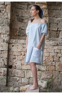 Дамска лятна рокля от раиран памучен плат