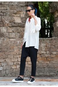 Дамска бяла риза а-симетричен силует