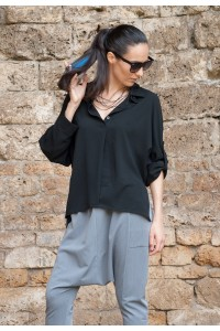 Черна екстравагантна риза