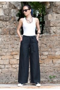 Черен ленен дамски панталон