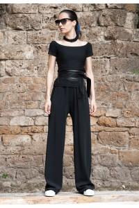 Дамски черен дълъг широк панталон
