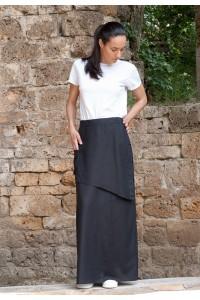 Асиметрична дълга черна ленена пола