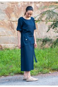 Дамска ленена рокля с къс ръкав