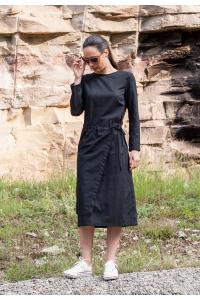 Дамска черна ленена рокля с дълъг ръкав