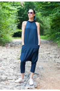 Екстравагантен летен дамски гащеризон от памучен плат