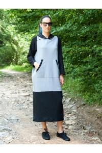 Спортна рокля,миди дължина от плътен трикотажен плат
