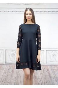 Официална черна дамска рокля с дантела
