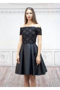 Официална черна дамска рокля от тафта и дантела