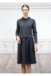 Еждневна дамска рокля съчетание от два вида плат в сиво