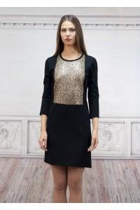 Официална вталена дамска рокля със златиста платка