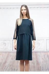 Черна дамска рокля с апликации от шифон със свободе силует