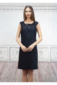 Официална черна дамска рокля без ръкав,с платка от паети