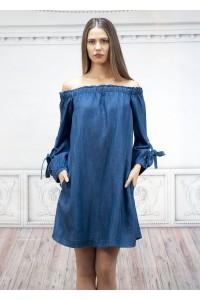 Ефектна дамска рокля от фин пран деним с връзки на ръкавите