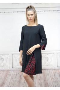 Ефектна черна дамска рокля с вградени платки