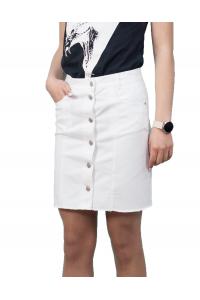 Бяла къса лятна спортна пола с копчета за закопчаване в предната част