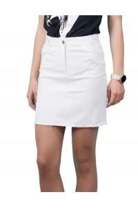 Бяла къса лятна права спортна пола