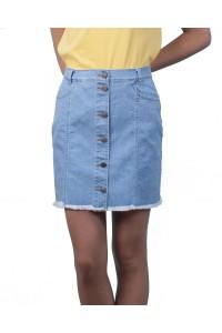 Светло синя дънкова дамска лятна пола от пран деним