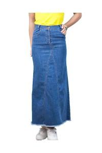 Дълга пола от пран деним пола с ефектен разбридан подгъв