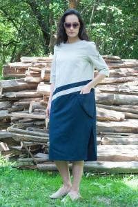 Дамска ленена рокля съчетание от два цвята